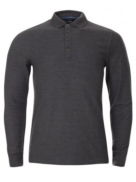 Charcoal Grey Long Sleeve Polo Shirt