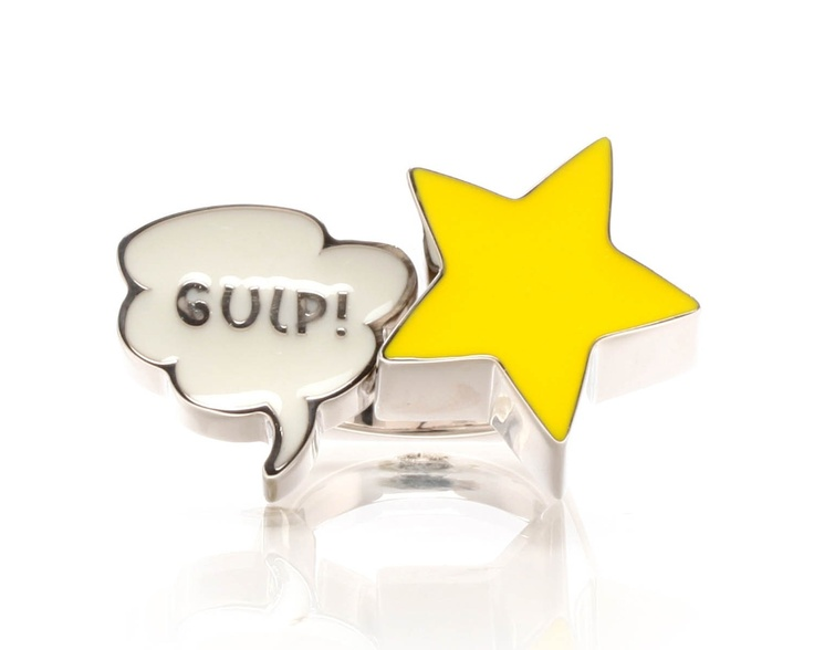 Gulp Ring by Delfina Delettrez. Silver ring with a comic Gulp sign.