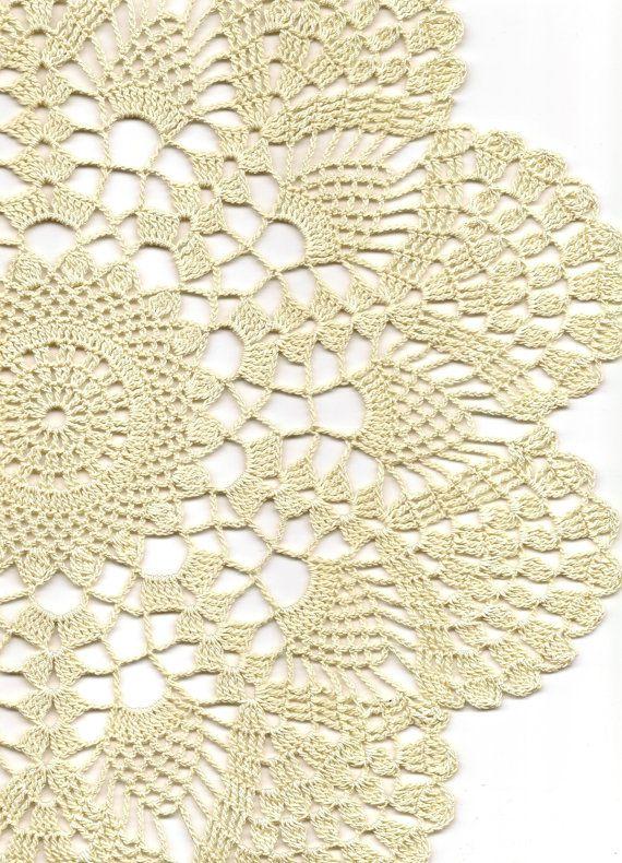 Crochet doily, lace doilies, eco friendly, crocheted doilie, hand made, table runner, napkin, cream, ecru via Etsy