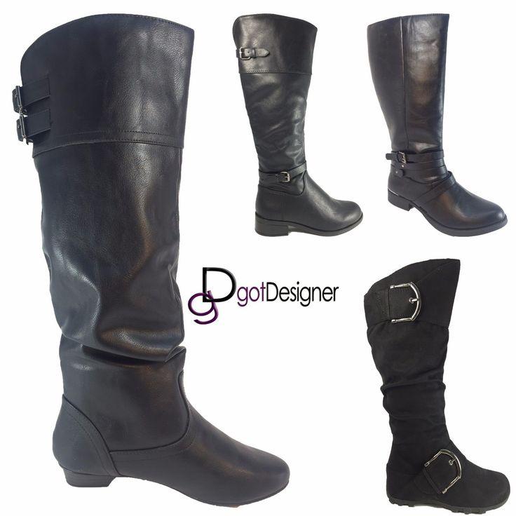 Women's Black Combat Military Boots Zipper Buckle Fashion Shoes Size 5 -11