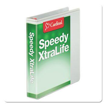 "Speedy Xtralife Non-Stick Locking Slant-D Binder, 1.5"" Cap, 11 X 8 1/2, White"
