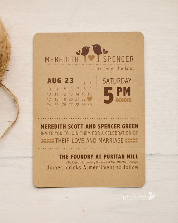 Modern rustic inspired bird themed printed or printable wedding invitation with calendar style wedding date, love bird invitation
