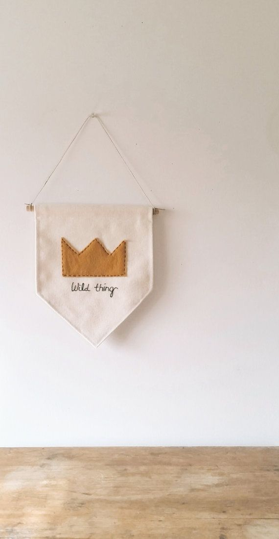 Inspired by a popular childrens book, this wall hanging will be perfect for a childs wall or nursery ! Handmade Canvas Wall Banner with hand cut Gold