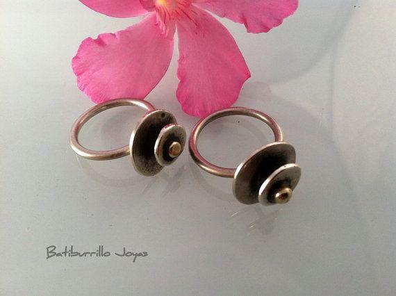 Anillo discos plata y bronce anillo dos metales anillo