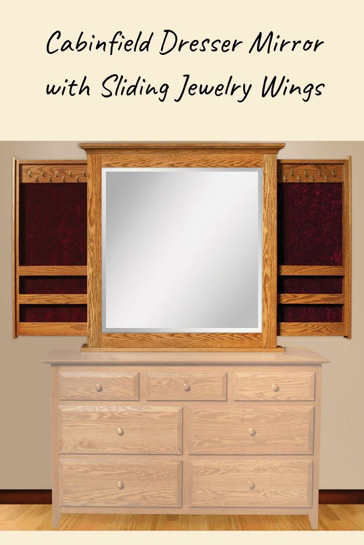 Cabinfield Dresser Mirror With Sliding Jewelry Wings Rustic Bedroom Furniture Dresser With Mirror Bedroom Furniture Design