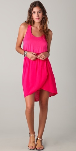 Elastic waist tank dress in neon pink
