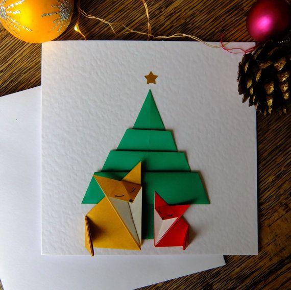 Ehi, ho trovato questa fantastica inserzione di Etsy su https://www.etsy.com/it/listing/251717768/cartolina-di-natale-origami-due-volpi
