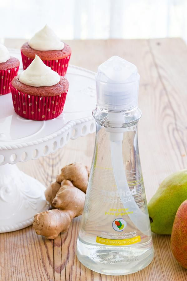 in need of a recipe of the feast to come? try your hand at these red velet cupcakes inspired by the scents in our pear ginger dish soap. #fearnomess