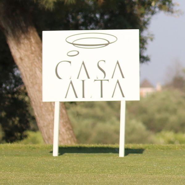 Banner tee de salida personalizado logo empresa. Torneo Golf Casa Alta Restaurante Sevilla