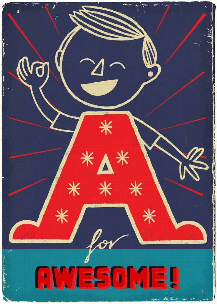"""""""A is for Awesome!"""" by Paul Thurby from Images 35: Best of British Illustration 2011, shown at Bankside Gallery"""