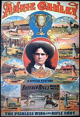Annie Oakley Buffalo Bill Poster, 1901, showing many of the tricks Shelby learned to perform. Annie Oakley was injured in a train accident in 1901, which ended her career with the Wild West Show.
