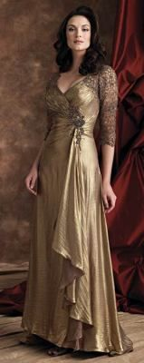 Gilded Lamé Gown    Brown & gold metallic silk chiffon is encrusted with glistening delicacies. Ruched sweetheart bust line, side draped midriff with handbeaded motif, threequarter length lace sleeves and back bodice with open keyhole, draped biascut skirt. $498