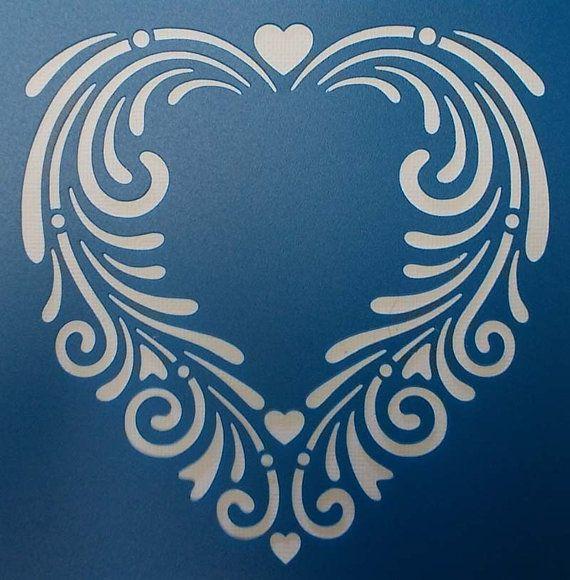Swirly Heart Stencil                                                                                                                                                                                 Mais