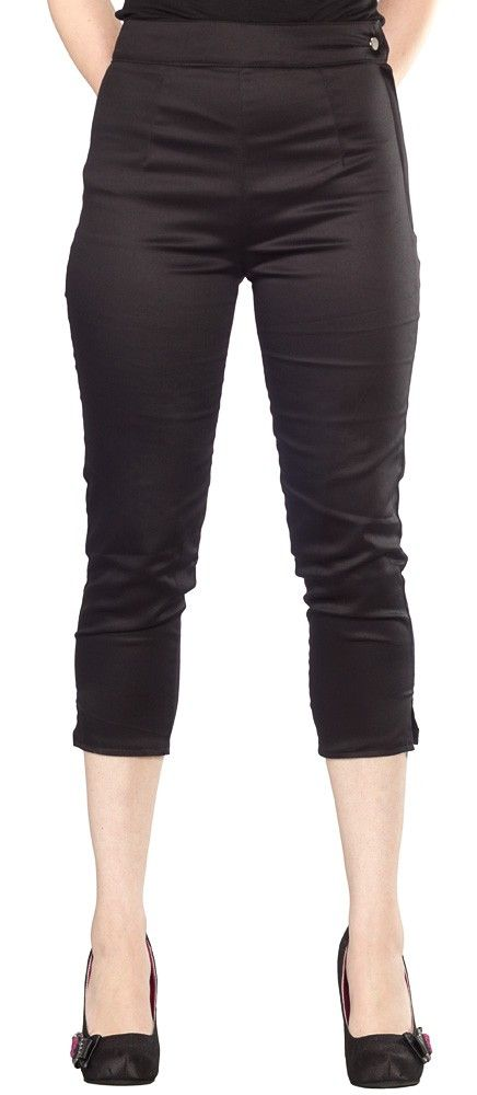 PINKY PINUPS SIDE ZIP CAPRI PANTS BLACK  Every pinup needs the perfect pair of capri pants! These satin look capris by Pinky Pinups feature a mid calf rise with side slits, side button and zipper closure, and rise at the natural waist. Pair them with your favorite top for an adorable retro look! $56.00 #pinkypinups #capri #pinup #retro #rockabilly