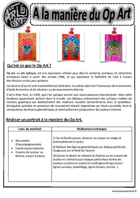 A la manière du op art - Art optique - Portraits - Ce1 - Ce2 – Cm1 – Cm2 – Arts visuels – Cycle 3