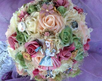 Victoriana Alicia en el país de las maravillas boda flor ramo de novia flores broche ramo boda Bouquet rosa/menta/Blush flores-país de las maravillas Alice