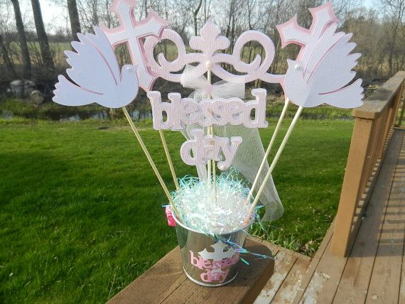 baptism christening table decoration centerpiece via etsy