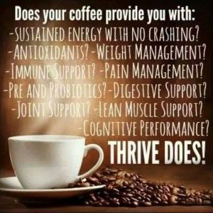 Sit back and enjoy the combination of great-tasting flavor and nutritional support... enjoy a cup of THRIVE CAFÉ!  **Creamy Mocha Flavor **Antioxidant Support **Supports Appetite Management **Supports Energy & Clarity