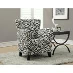 """Europa Beige and Black Fabric Club Arm Chair, Black/Beige """"abstract"""" Fabric"""