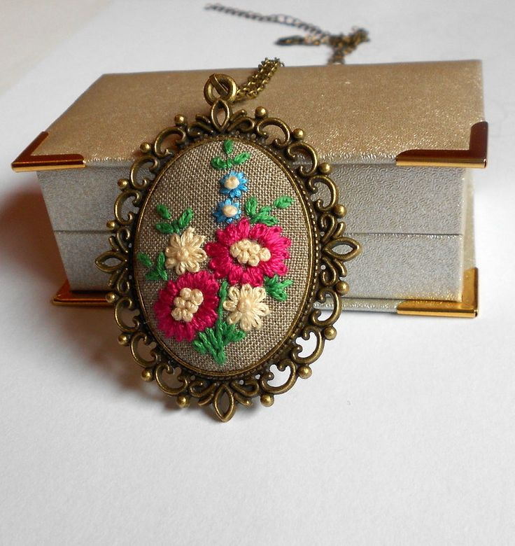 Embroidered necklace Unique Necklace for women by RedWorkStitches