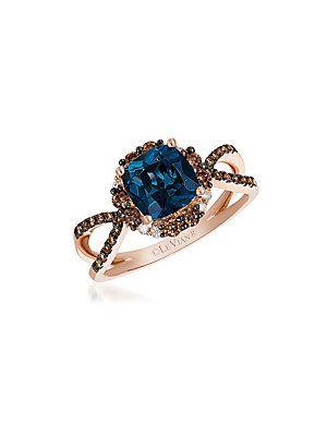Le Vian Le Vian Chocolatier Deep Sea Blue Topaz & Chocolate Ring