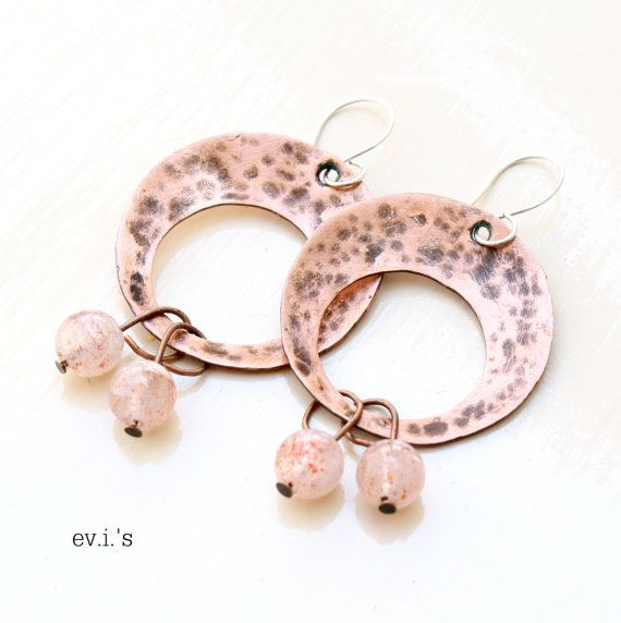 Strawberry Sunstone Rounds Sterling Ear by EVIsMetalworkJewelry, €27.00