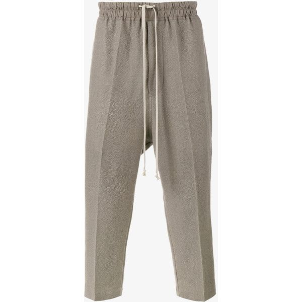 Rick Owens Drop Crotch Cropped Trousers (1 162 AUD) ❤ liked on Polyvore featuring men's fashion, men's clothing, men's pants, men's casual pants, mens low crotch pants, mens elastic waist pants, mens grey wool pants, mens stretch waist pants and mens grey dress pants