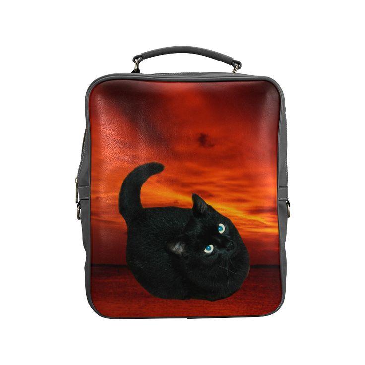 Black Cat Square Backpack (Model1618)