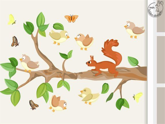 Wall Decal Tree Branch I Xl With Baby Birds And Squirrel Wall Sticker Nursery Baby Children S Room Decorations Wandtattoo Baum Wandtattoo Babyzimmer Gestalten