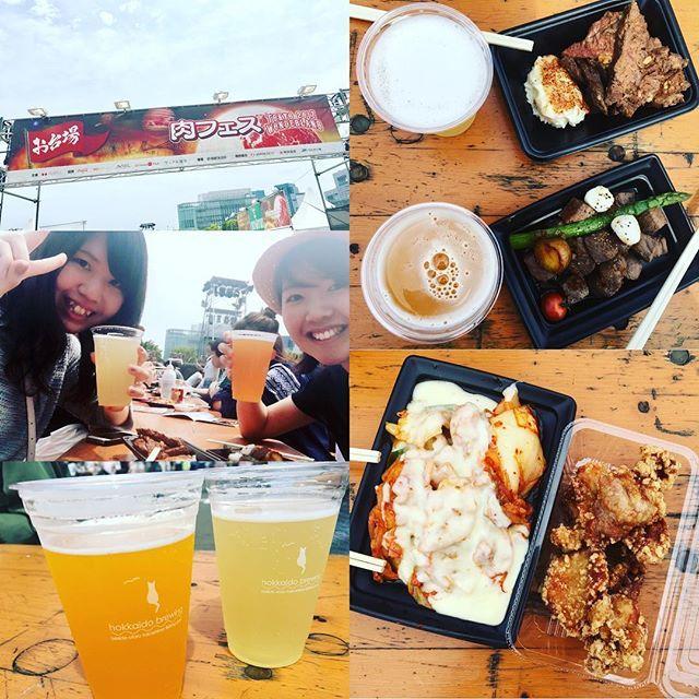 GW最終日。 お台場でやってる肉フェスへ🍖 お肉美味しかったな〜\( ¨̮ )/💓 ビール苦くて苦手なんだけど、 フルーツビールで飲みやすかった🍻 ちょっと、日焼けした気がする! #肉フェス #お台場 #肉 #肉好き #からあげ #ステーキ #韓国料理 #フルーツビール #フェス #GW最終日 #おいしい