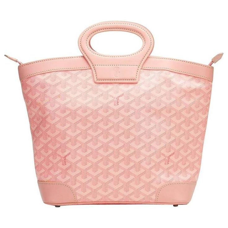 2000s Goyard Pink Coated Canvas Beluga PM | From a collection of rare vintage top-handle-bags at https://www.1stdibs.com/fashion/handbags-purses-bags/top-handle-bags/