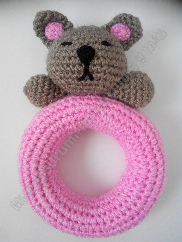 Sonajero amigurumi oso - accesorios para bebés - hecho a mano - en DaWanda.es