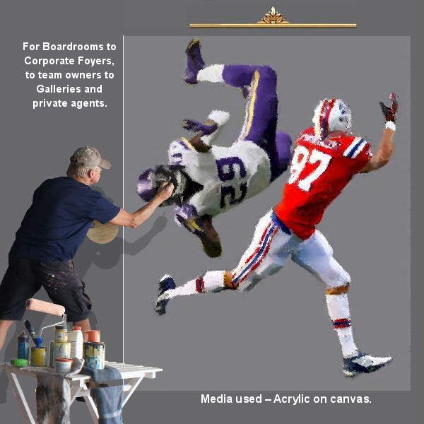 For all NFL teams, College and football clubs with sports artist Malcolm Hazeldean https://www.youtube.com/watch?v=76zz2ISakDQ geatvideo@yahoo.com.au
