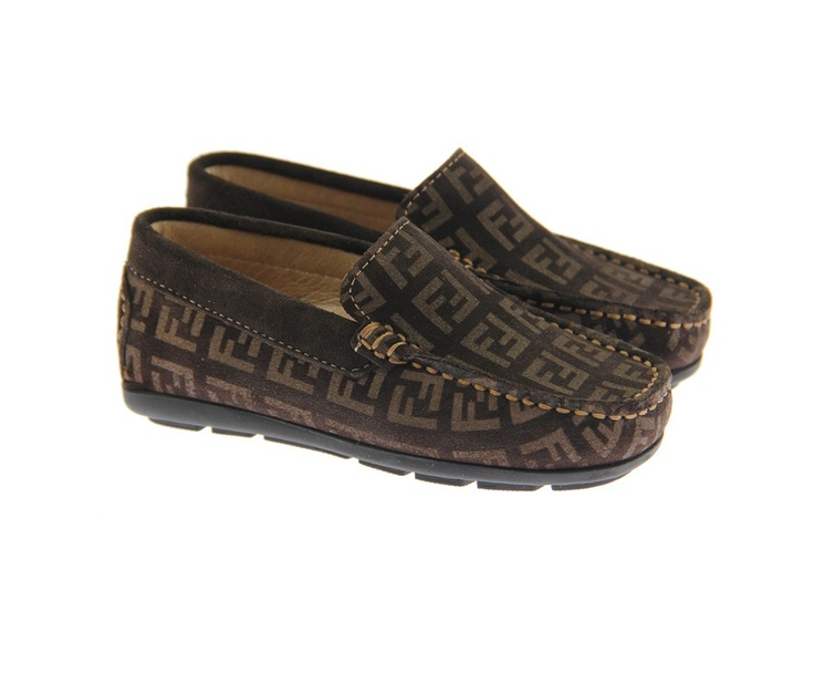Fendi Junior Boys Brown Zucca Logo Loafers