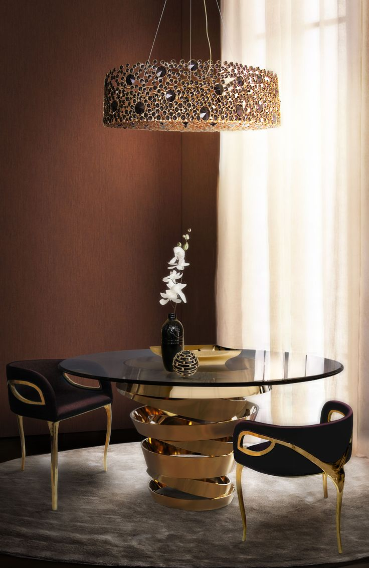 A Design By Koket Glamorous Dining Room Decor In Gold And Black Tones
