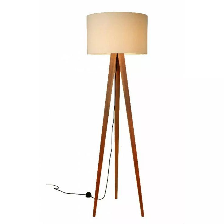 abajur de chão tripé madeira luminaria semi rústico