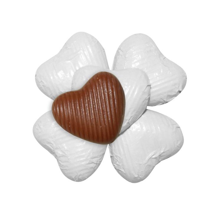 100 Chocolate Hearts, White, £20.95