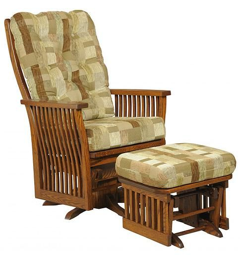 Our Craftsman Swivel Glider is shown in oak with matching ottoman | The Amish Home | Comfy Seats: Amish Rockers, Gliders, and Recliners