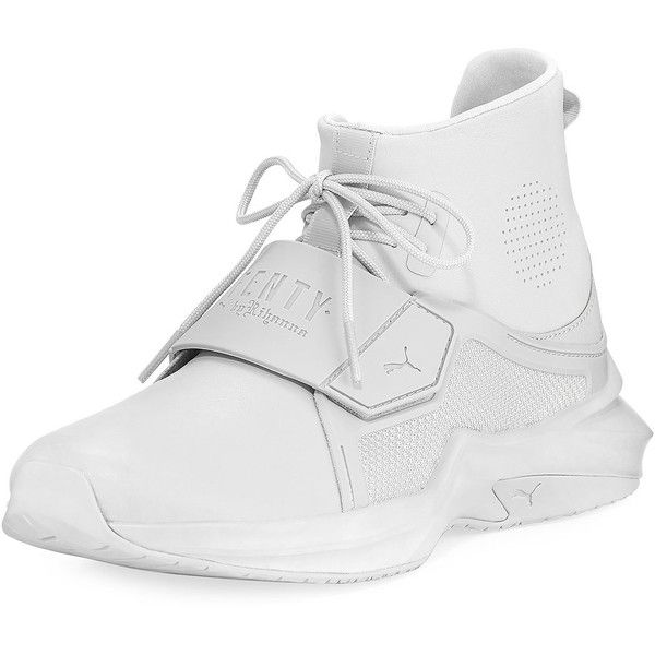 Fenty Puma By Rihanna The Trainer Hi Sneaker ($190) ❤ liked on Polyvore featuring shoes, sneakers, shoes sneakers, white, white shoes, flats sneakers, flat shoes, white flat shoes and puma trainers
