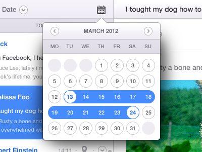 Dribbble - Email App Calendar (Date Range) by Daryl Ginn