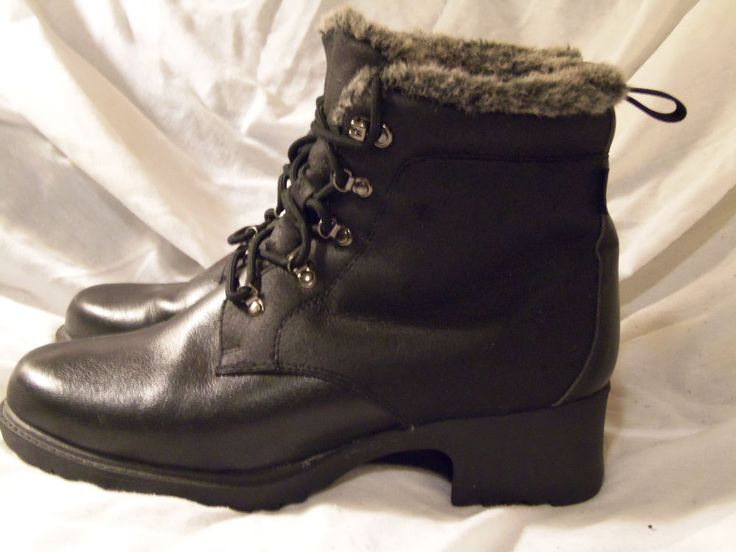Sporto Boots 9.5 M Black Insulated lace up Tie Stylish Winter warm Faux Leather  #Sporto #SnowWinter #SnowWinterweather
