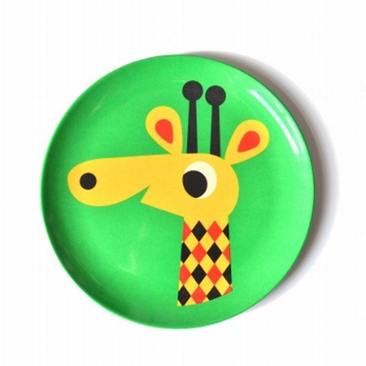 melamine #plate #giraf by #Ingela p #Arrhenius from www.kidsdinge.com https://www.facebook.com/pages/kidsdingecom-Origineel-speelgoed-hebbedingen-voor-hippe-kids/160122710686387?ref=hl #kidsdinge #toys #speelgoed #sint
