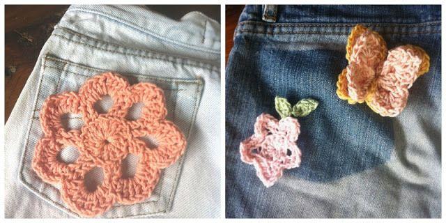 Jean con apliques de crochet - Jean with crochet flowers - Mamy a la obra