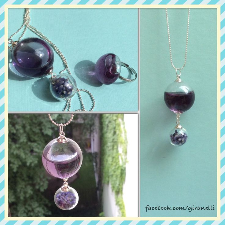 Giranelli - lavender dream necklace with real lavender flower Design jewelry Blown Glass necklace