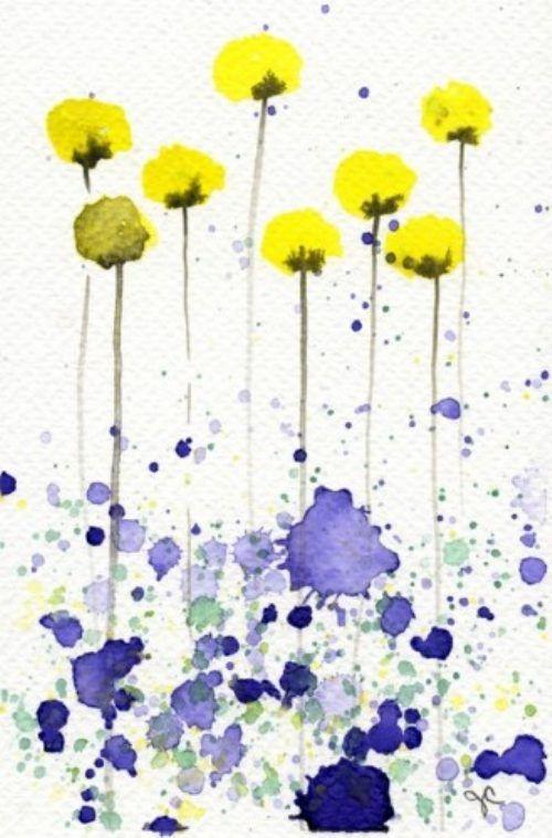 WatercolorsFlower Painting, Yellow Flowers, Simple Watercolor, Art Teachers, Flower Watercolors, Watercolor Flowers, Watercolors Art, Watercolors Painting, Watercolors Flower