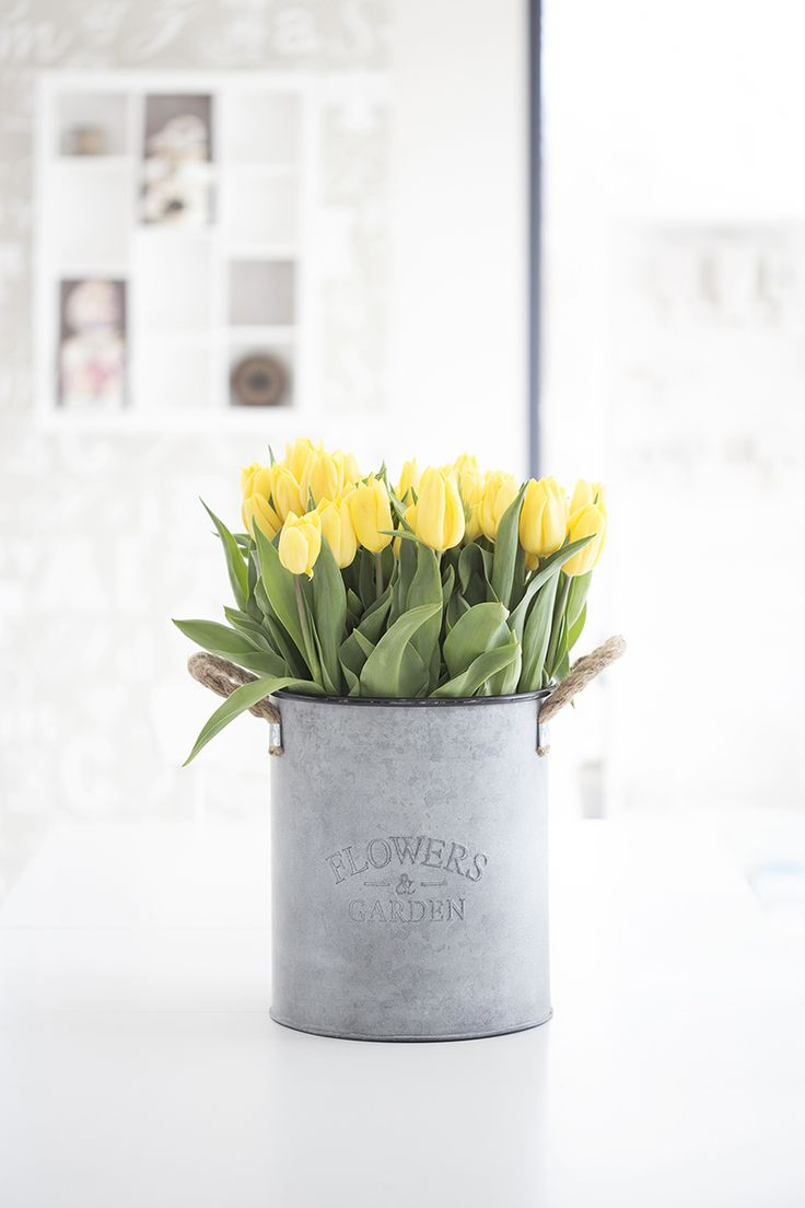The vintage tin and tulips are perfect for the feeling I'm trying to go for, but traveling every week means they would definitely have to be fake!