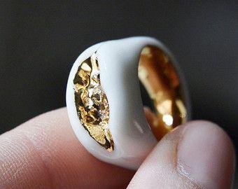 Mínimo anillo anillo blanco joyas de porcelana por FreakyFoxx