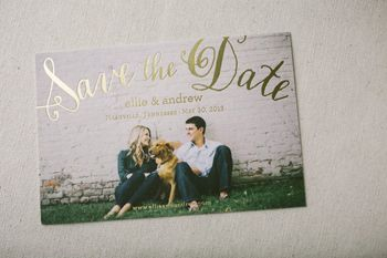 Maybe you could print the photo on a letterpress paper and then letterpress over it? Just an idea.     Smock save the date with a photo and gold foiling