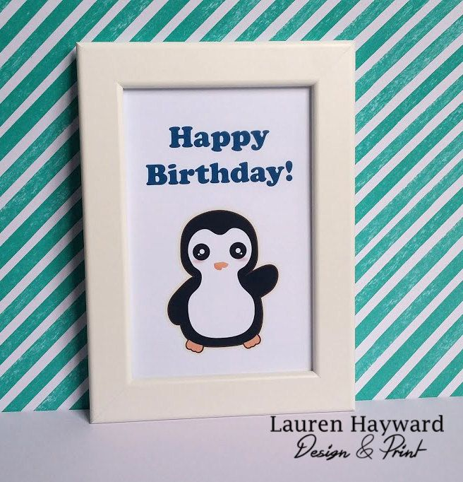 Penguin Birthday Card Blue Printable Download And Print At Home