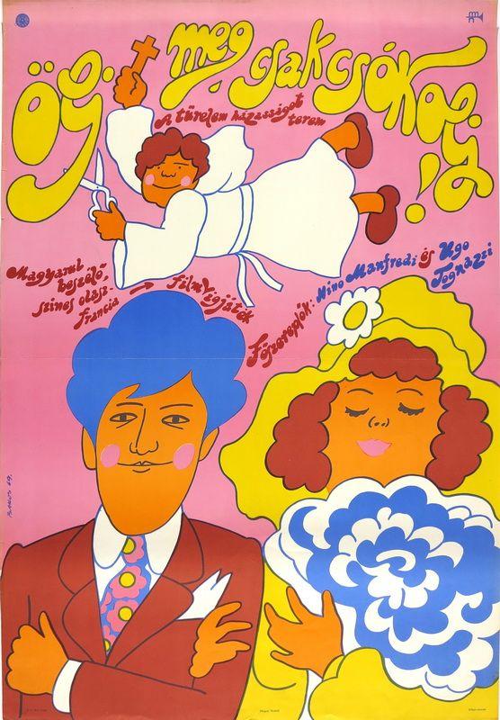 Torture Me But Kill Me with Kisses (1968) poster by Bakos István. Flowing whiplash lines evoke  art nouveau.